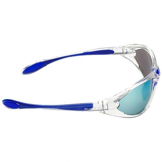 Swiss Eye Constance Sonnenbrille mit Gläsern in Smoke BW Revo + Orange + Klar / Gestell in Crystal Blue