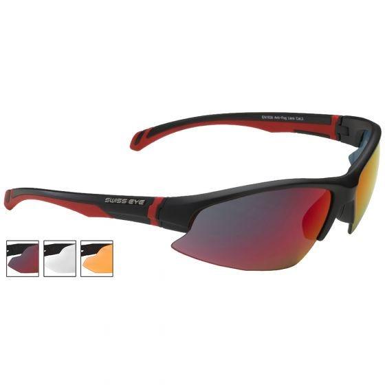 Swiss Eye Flash Sonnenbrille mit Gläsern in Smoke BR Revo + Orange + Klar und Gestell in Mattschwarz