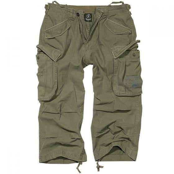 Brandit Industry Vintage Shorts mit 3/4-Bein Olivgrün