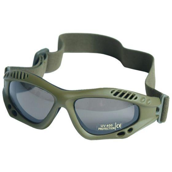 Mil-Tec Commando Air Pro Schutzbrille Gläser Rauchgrau Gestell Oliv