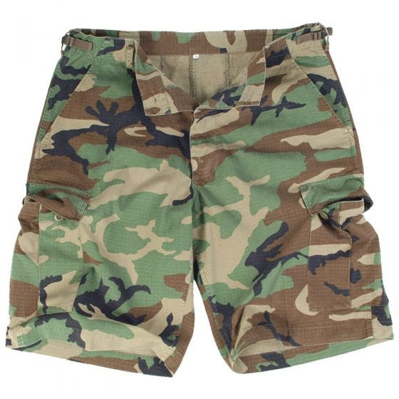 Mil-Tec US Bermuda-Shorts aus Ripstop Prewashed Woodland