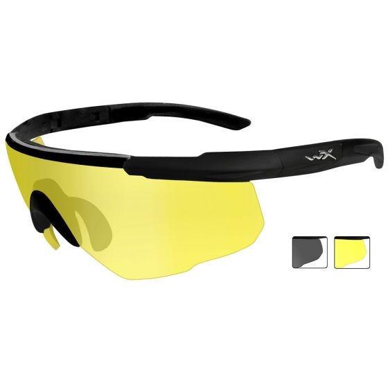 Wiley X Saber Advanced Schutzbrille - Gläser in Smoke Grey + Pale Yellow / Gestell in Mattschwarz