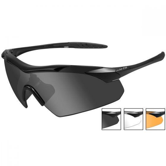 Wiley X WX Vapor Schutzbrille - Glas in Smoke Grey + Transparent + Light Rust / Gestell in Mattschwarz