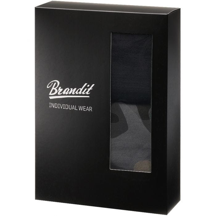 Brandit Boxer Shorts Logo 2 Pack Dark Camo / Black
