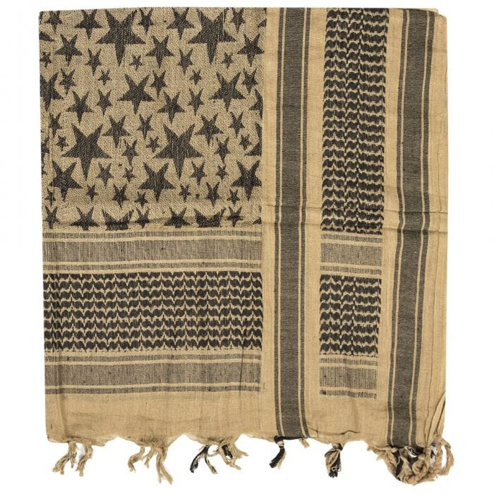 Mil-Tec Shemagh Scarf Stars Coyote / Black