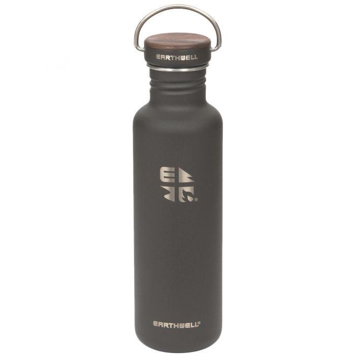 Earthwell Woodie Einwandige Trinkflasche 800 ml Walnut / Volcanic Black