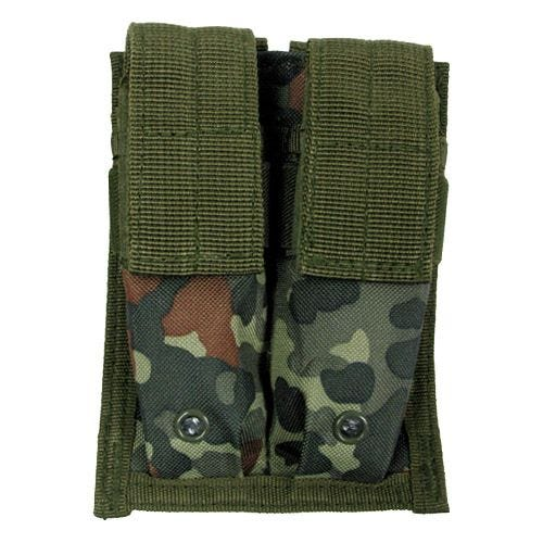 MFH 9mm Kleine Doppel-Magazintasche mit MOLLE-Befestigungssystem Flecktarn