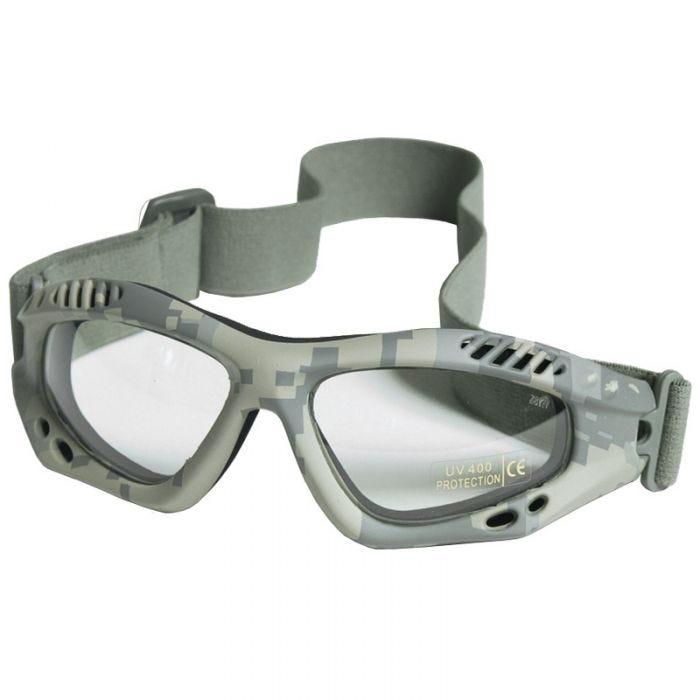 Mil-Tec Commando Air Pro Schutzbrille Gläser Transparent Gestell ACU Digital