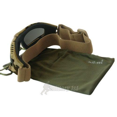 Mil-Tec Commando Air Pro Schutzbrille Gläser Rauchgrau Gestell Desert