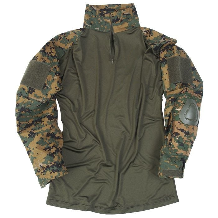 Mil-Tec Warrior Shirt mit Ellbogenschutz Digital Woodland