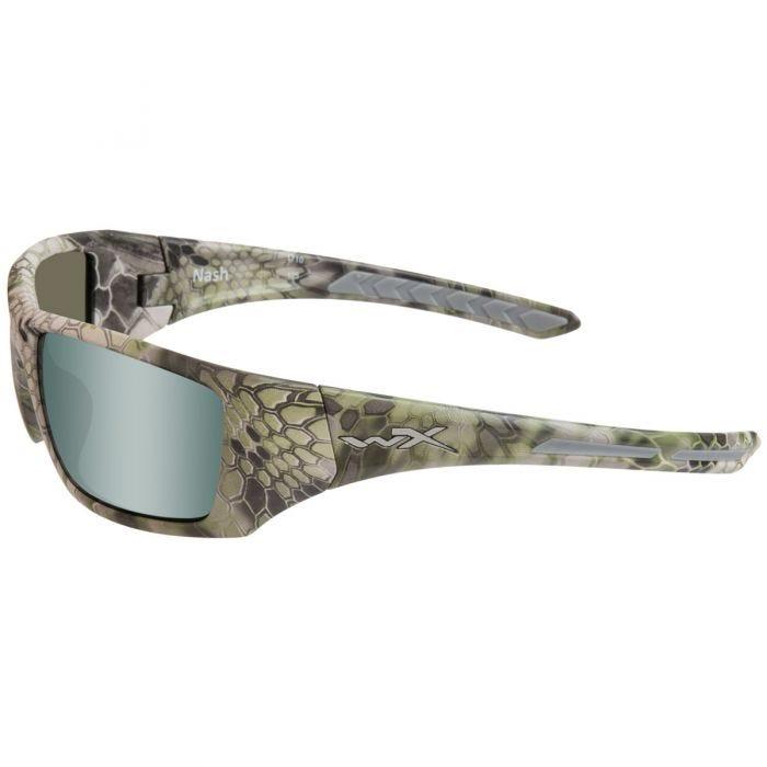 Wiley X WX Nash Glasses - Polarized Grün Platinum Flash Lens / Kryptek Altitude Frame
