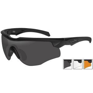Wiley X WX Rogue Comm Schutzbrille - Gläser in Smoke Grey + Transparent + Light Rust / Gestell in Mattschwarz