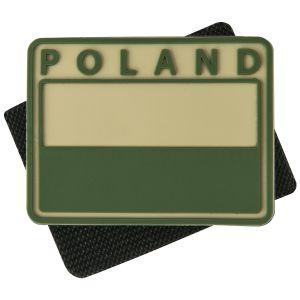 Helikon Patch Polnische Flagge mit POLAND-Schriftzug in gedämpfter Farbe Khaki 2 Stück