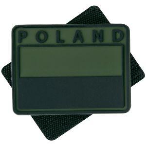 Helikon Patch Polnische Flagge mit POLAND-Schriftzug in gedämpfter Farbe Olive Green 2 Stück