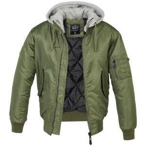 Brandit MA1 Jacke mit Sweat-Kapuze Olivgrün/Grau