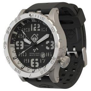 Hazard 4 Heavy Water Diver Titanium BlackTie GMT-Armbanduhr mit Tritium-Lichtquelle Weiß/Blau/Rot