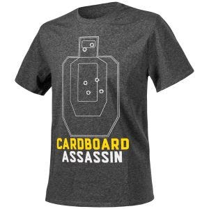 "Helikon T-Shirt mit Aufschrift ""Cardboard Assassin"" Melange Schwarz-Grau"