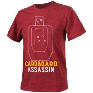 "Helikon T-Shirt mit Aufschrift ""Cardboard Assassin"" Melange Rot"