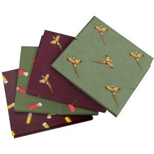 Jack Pyke Stofftaschentücher mit Fasan- und Patronen-Motiven 4er-Set Wine/Grün