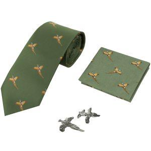 Jack Pyke Geschenk-Set aus Krawatte, Taschentuch und Manschettenknöpfen im Fasan-Design Grün