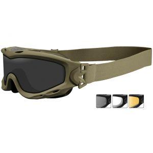 Wiley X Spear Schutzbrille - Monoglas in Smoke Grey + Transparent + Light Rust / Gestell in Matte Tan