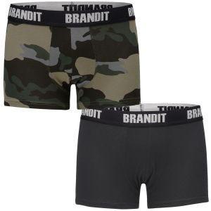 Brandit Boxer Shorts Logo 2 Pack Dark Camo / Black