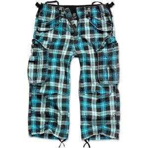 Brandit Industry Vintage Shorts mit 3/4-Bein Turquoise Checkered