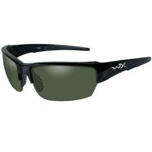 Wiley X WX Saint Brille - Polarisierte Gläser in Smoke Green / glänzend schwarzes Gestell