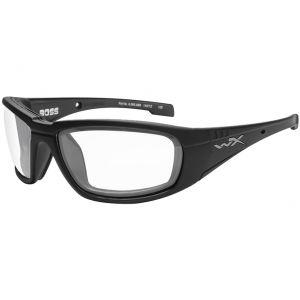 Wiley X WX Boss Brille - Gläser in Transparent / glänzend schwarzes Gestell