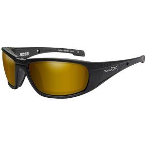 Wiley X WX Boss Brille - Polarisierte und verspiegelte Gläser in Venice Gold / Gestell in Mattschwarz