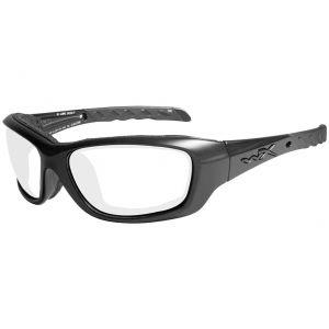 Wiley X WX Gravity Schutzbrille - Gläser in Transparent / glänzend schwarzes Gestell