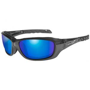 Wiley X WX Gravity Schutzbrille - Polarisierte und verspiegelte Gläser in Blau / Gestell in Black Crystal