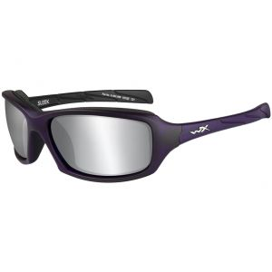 Wiley X WX Sleek Schutzbrille - Gläser in Smoke Grey Silver Flash / Gestell in Mattlila