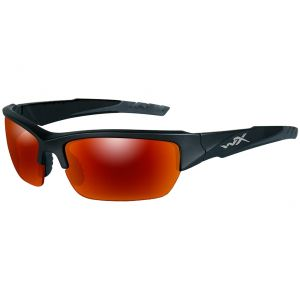 Wiley X WX Valor Schutzbrille - Polarisierte Gläser in Smoke Grey/Crimson Mirror / Gestell in 2 Schwarztönen