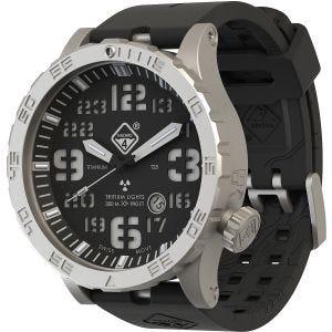 Hazard 4 Heavy Water Diver Titanium BlackTie Armbanduhr mit Tritium-Lichtquelle Grün/Gelb