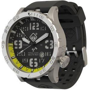 Hazard 4 Heavy Water Diver Titanium BlackTie GMT-Armbanduhr mit Tritium-Lichtquelle Gelb/Grün/Gelb