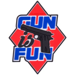 "Helikon Patch mit Spruch ""Gun is Fun"" Rot"